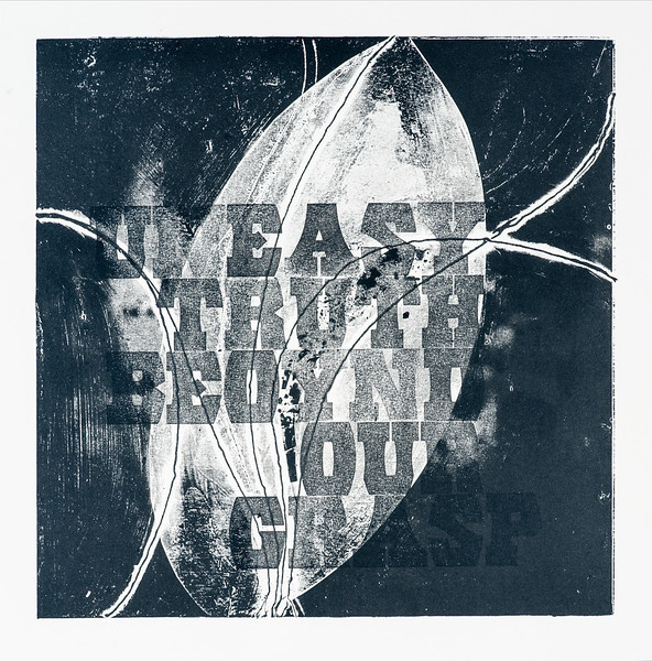 """Uneasy truth beyond our grasp, 16""""x16"""", relief and letterpress print"""