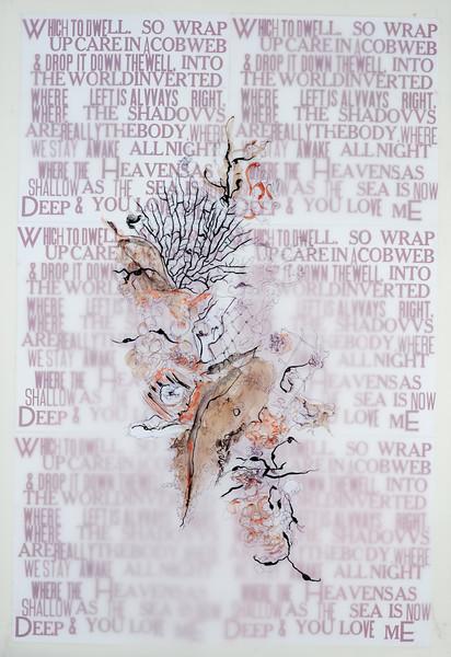 "Where-from an understanding of Elizabeth Bishop 32""x48"" ink on mylar over letterpress prints"