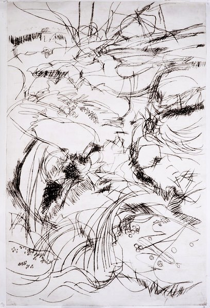 """Daydreams by the river in Blue Hill 32""""x48"""" drypoint print"""