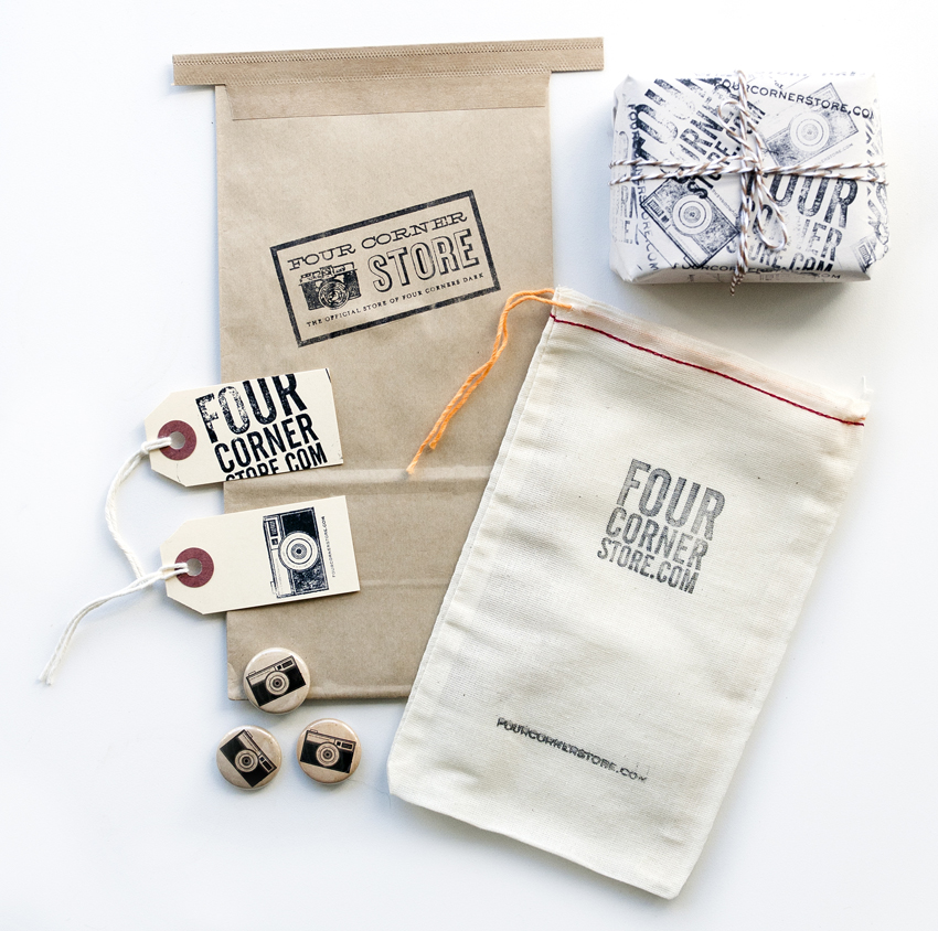 The Artful Union worked online boutique Four Corner Store to create a vintage, analog themed brand with unique packaging for their products.