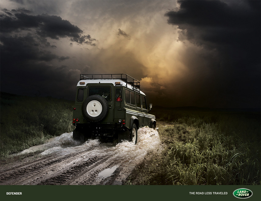 Land Rover retouching by the Artful Union. Our goal: create a dark, ominous location with the vehicle powering through. Limited to an image of a similar model, and created the result in photoshop.