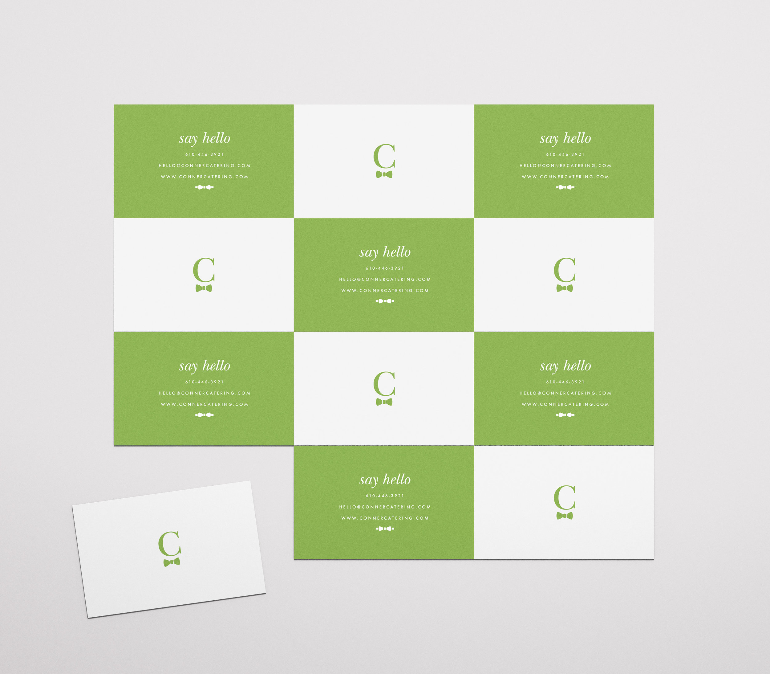 Conner Catering Pantone Greenery business Cards