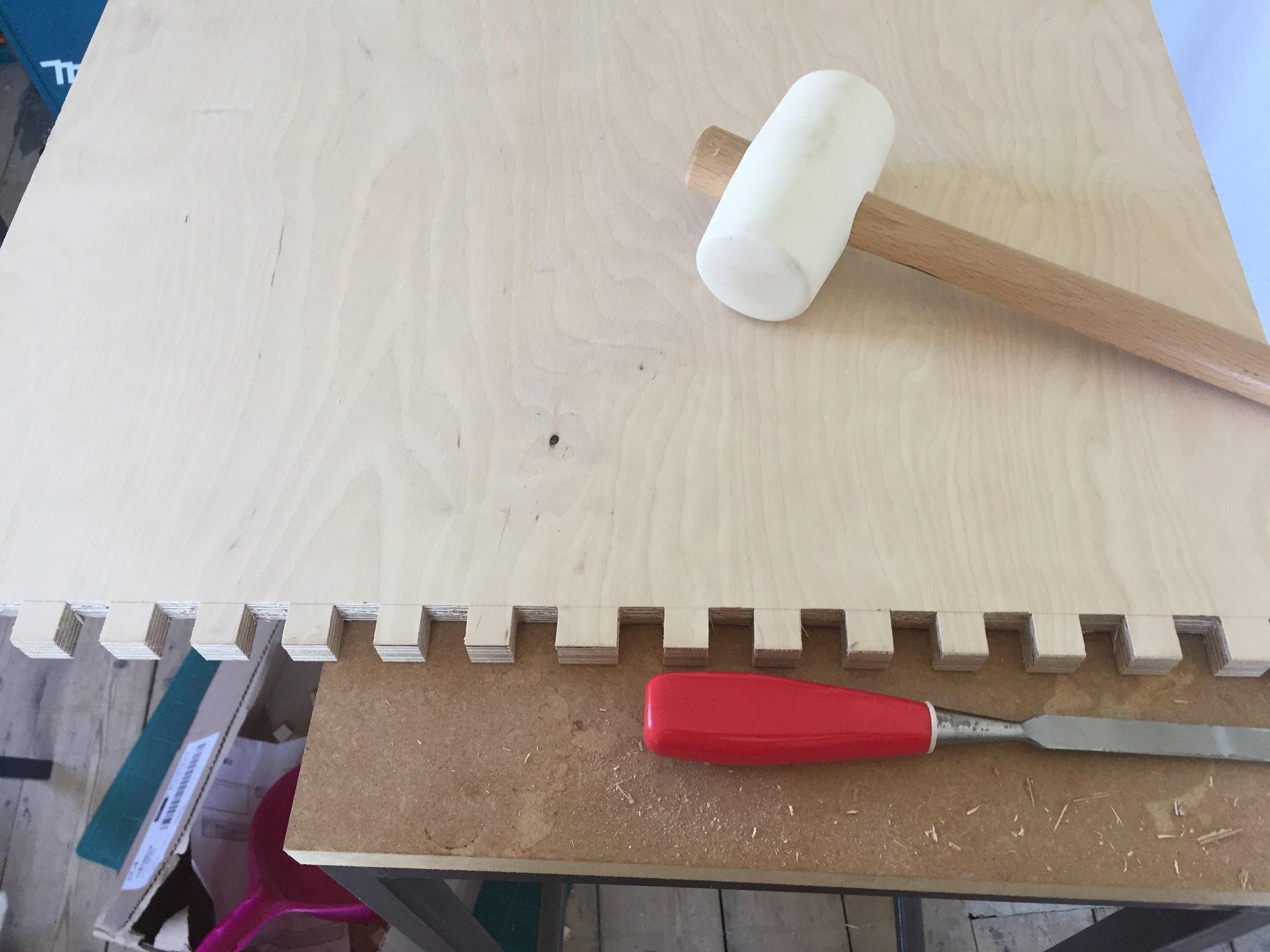 Desk   Birch Plywood & Furniture Linoleum. Box Joint & Dado joinery