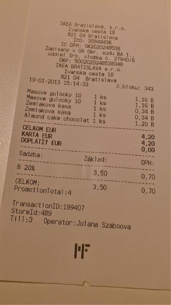 IKEA účet