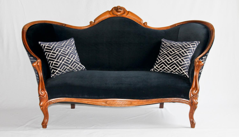 Antique Victorian Sofa with Herman Miller blue velvet .jpg