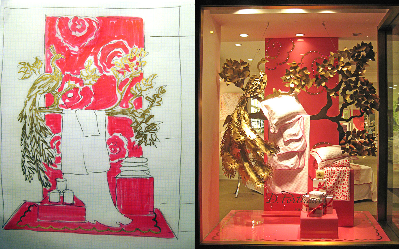 Window design drawing and resulting installation for client D. Porthault.
