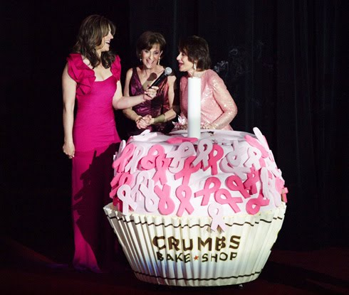 Giant  5 cupcake made for a Breast Cancer Research Foundation event, in part sponsored by Crumbs Bake Shop.