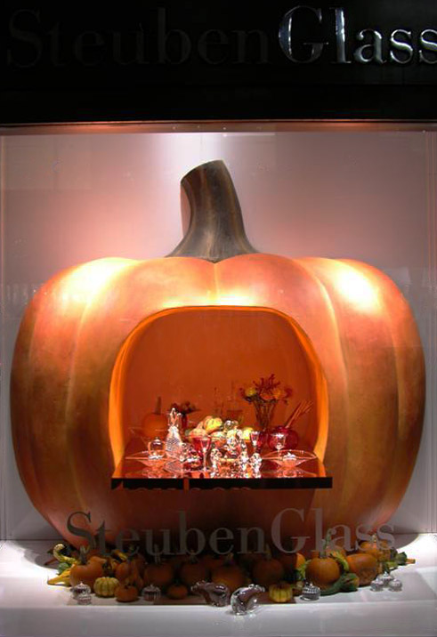 Giant pumpkin designed and produced for Steuben Glass.