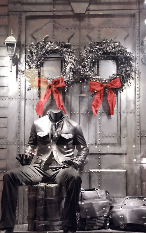 faux metal backdrops produced for John Varvatos NYC flagship holiday windows.