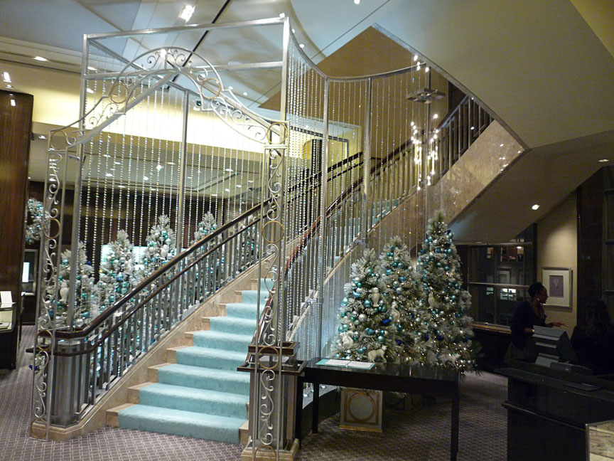 Crystal cascade stair decor produced for Tiffany & Co.