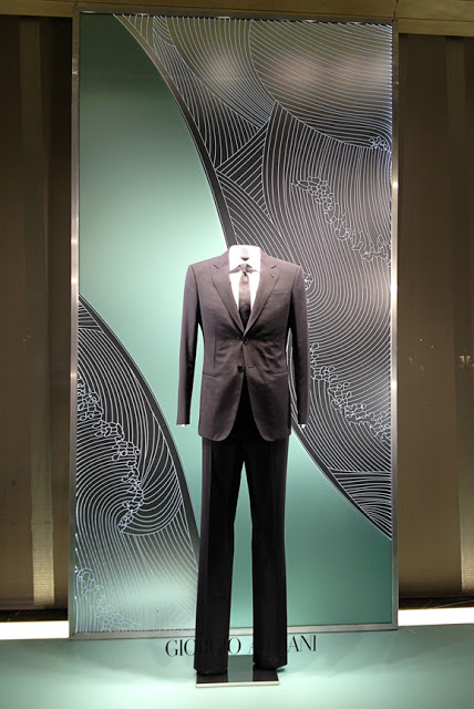 Layered window backdrops produced and installed for Armani 5th Avenue.