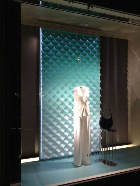 Layered window backdrop produced and installed for Armani 5th Avenue.