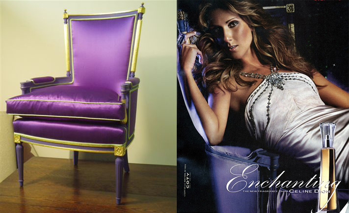 A luxurious purple chair, produced for Celine Dion fragrance ads.