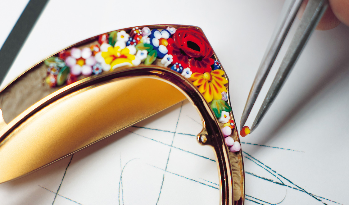 Here's a closer look at the beautiful craftsmanship in the micro-mosaic style the new D&G sunglasses feature.