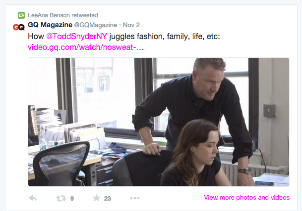 Todd and his minion featured in GQ  Todd Snyder