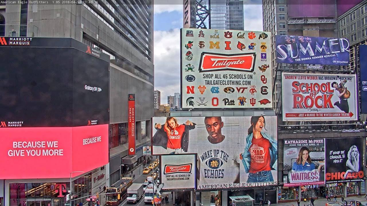 School Research Art Direction Graphic Design Production  Tailgate in Times Square  American Eagle Outfitters