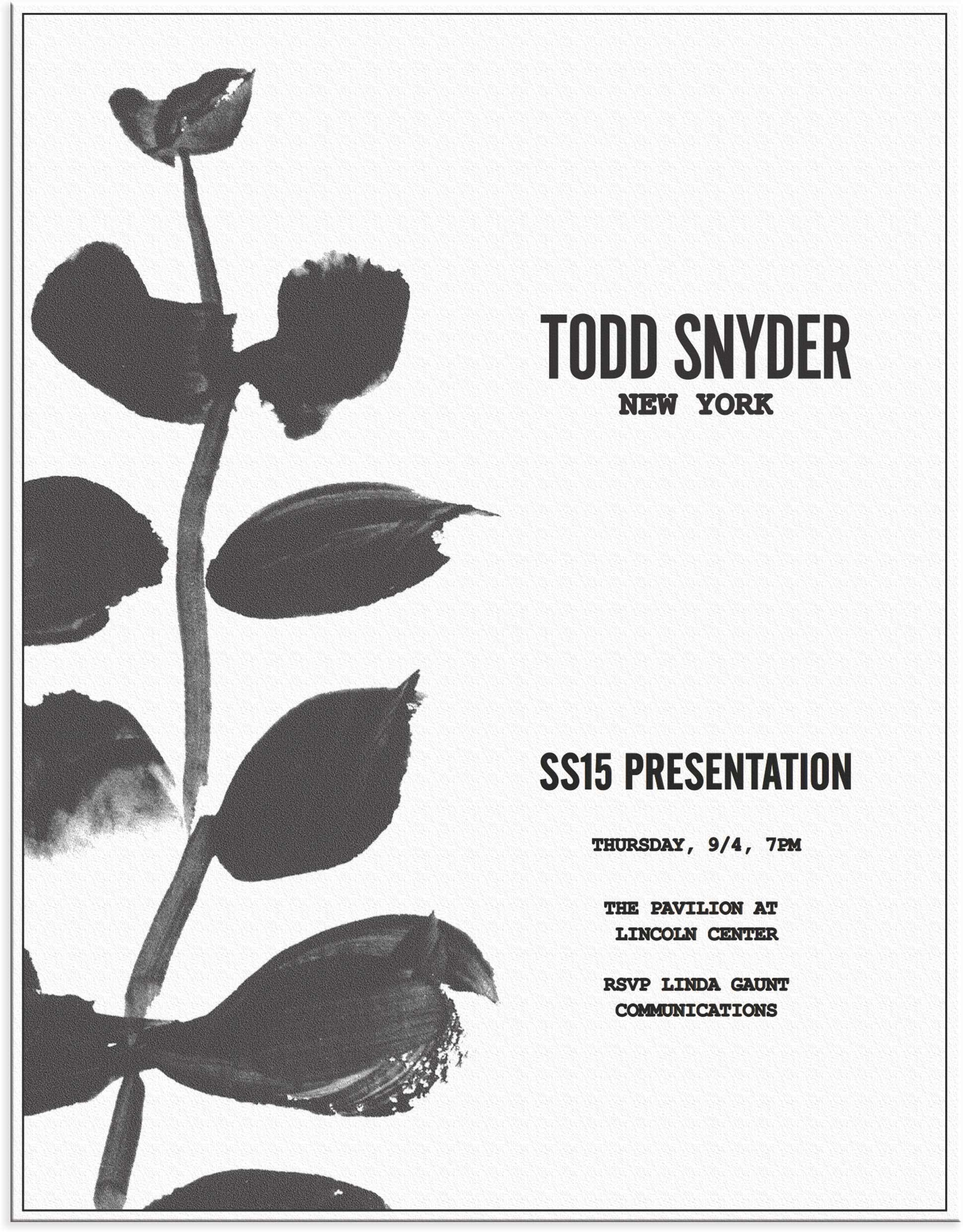 Painting Invitation Design Export for Print  Todd Snyder SS15 NYFW
