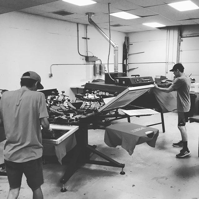Production has been rocking. Front of the house needs a little tlc but the new location feels like home. We started experimenting with water based inks. Life is good. #screenprinting  #omaha  #createquality