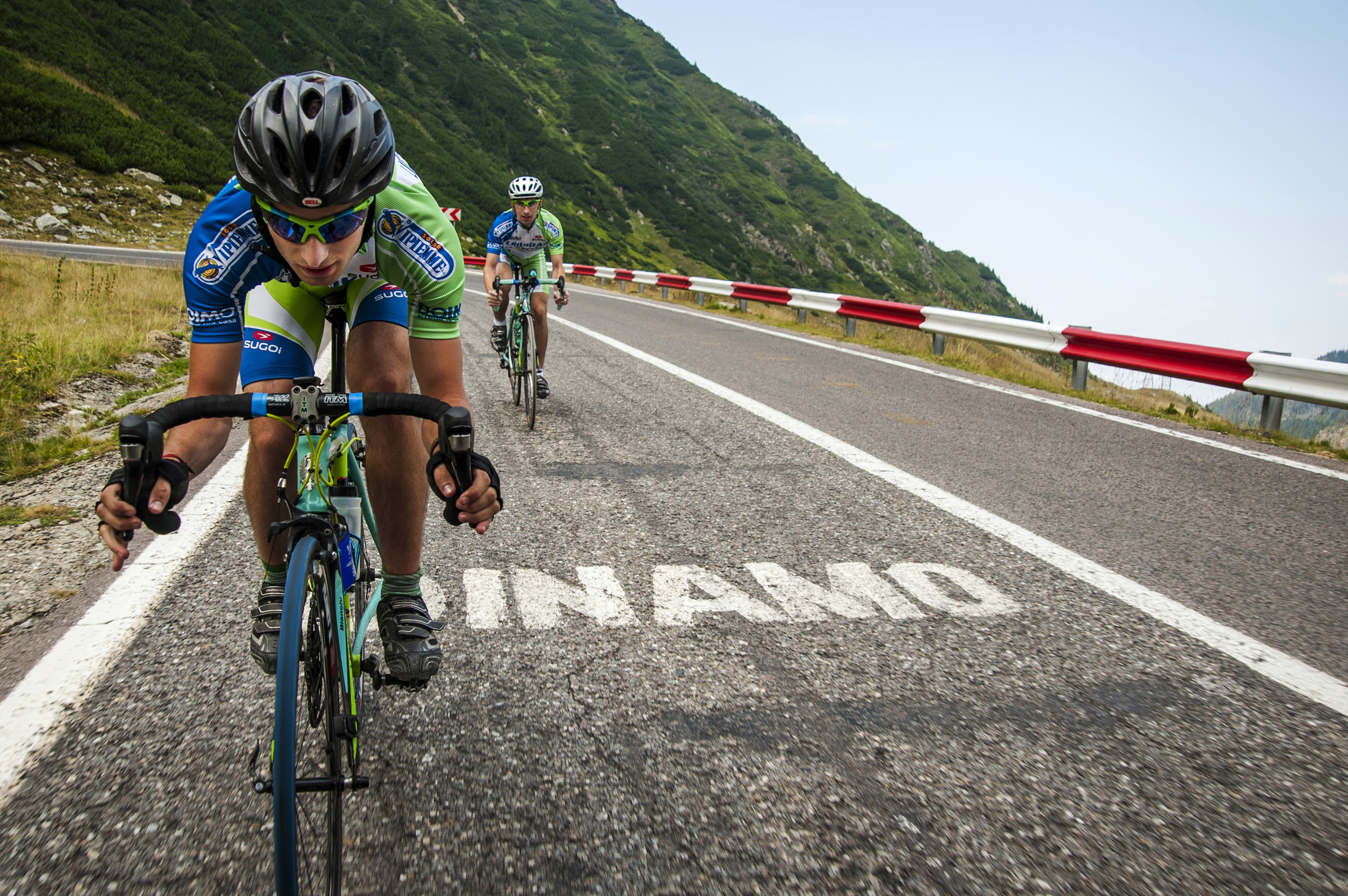 Timo Chiciudean and Richard Wakeford, both amateur cyclists from the United Kindom, race down the seemingly endless set of switchbacks and hairpin turns that make up the Transfăgărășan's northern face on August 9, 2013.