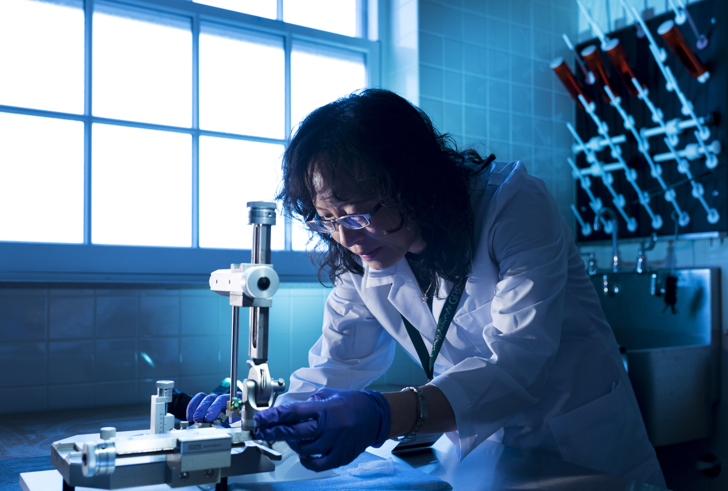 Dr. Chunmin Lo poses in her research laboratory at Ohio University in Athens, Ohio on April 19, 2018.