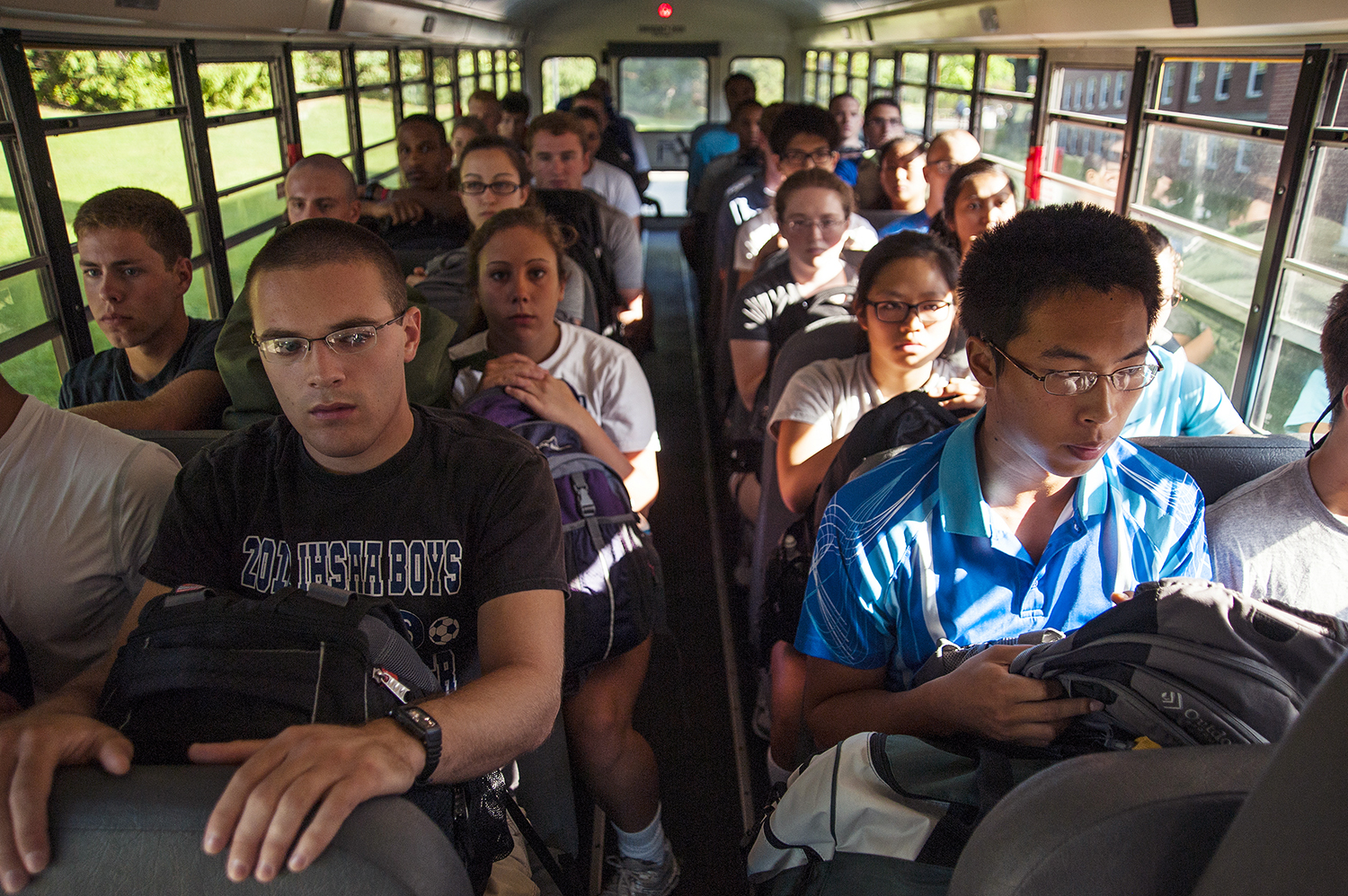 "NEW LONDON- 06302014-- New recruits, or ""Swabs"" wait aboard a military bus in New London for their training to begin at The United States Coast Guard Academy on Monday, June 30, 2014. (DANIEL OWEN 