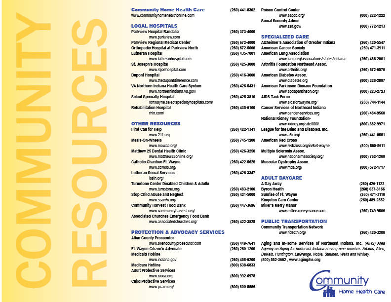 Click above to download our Printable Community Resources Brochure which features the links listed on this web page.