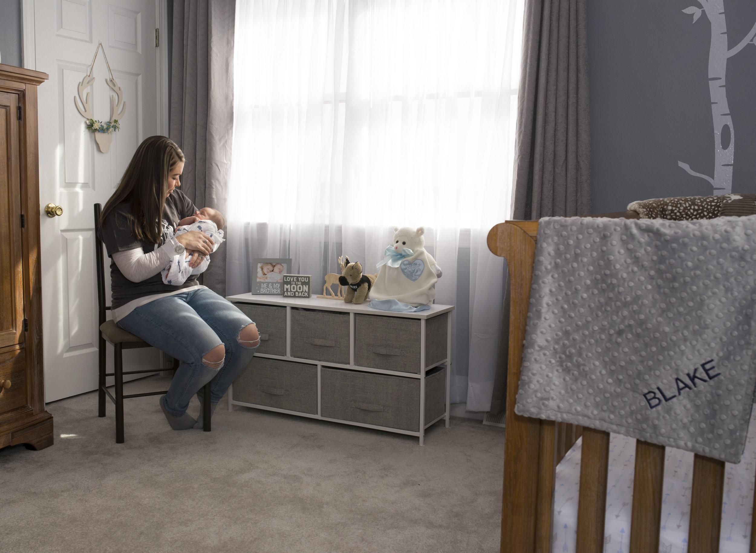 Pittsburgh Lifestyle Newborn Photography grey nursery.jpg