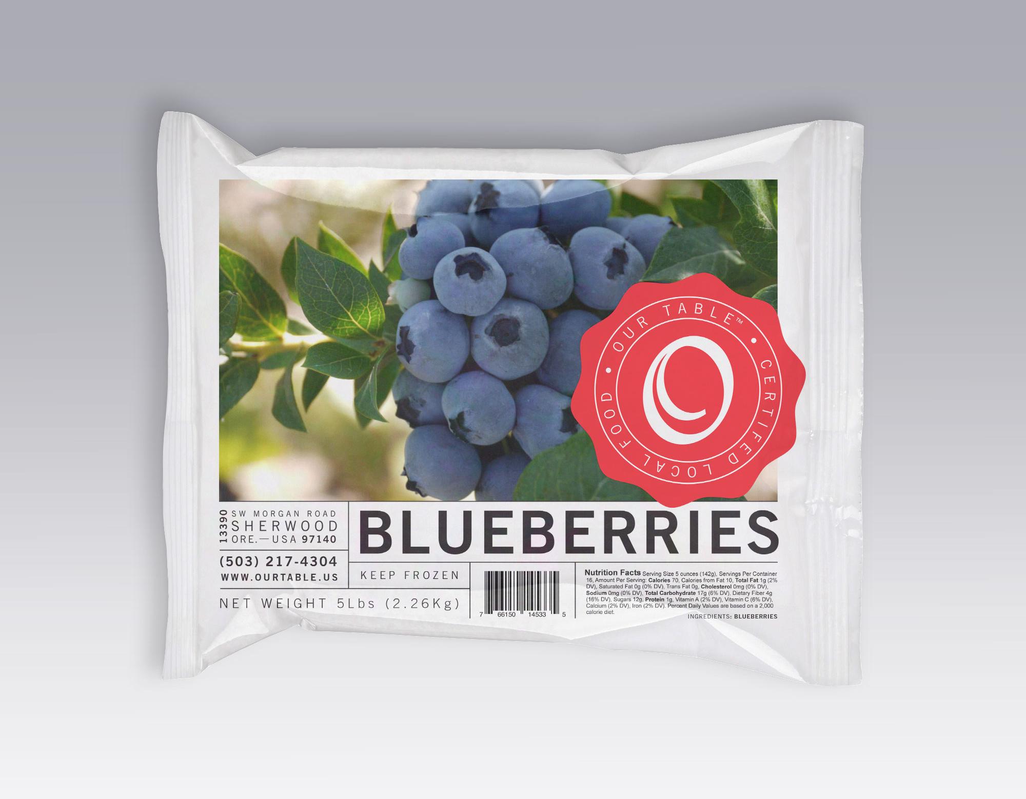 frozen blueberry package