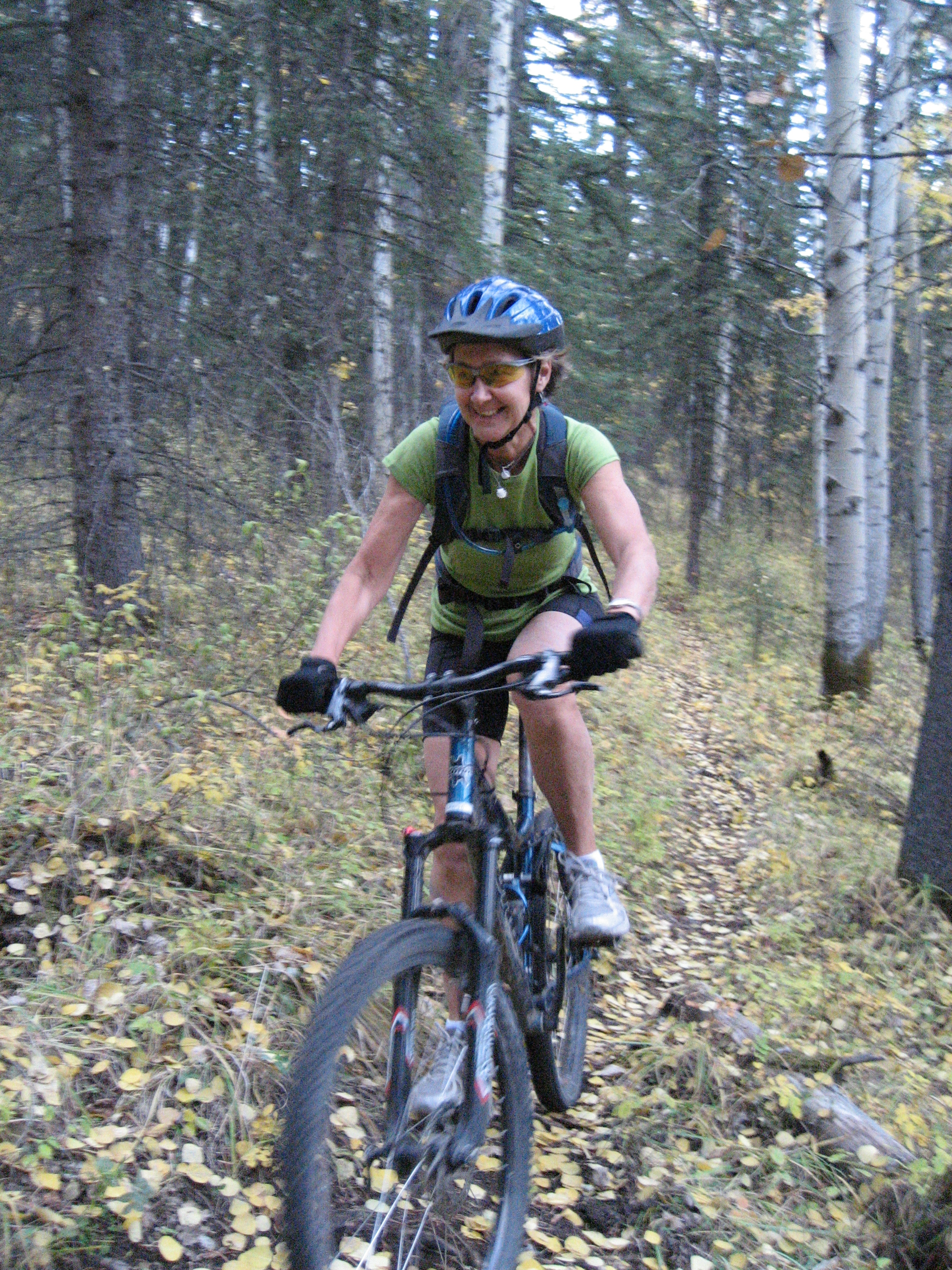 Ellen's favorite time of the year to ride.  Halloween Trail