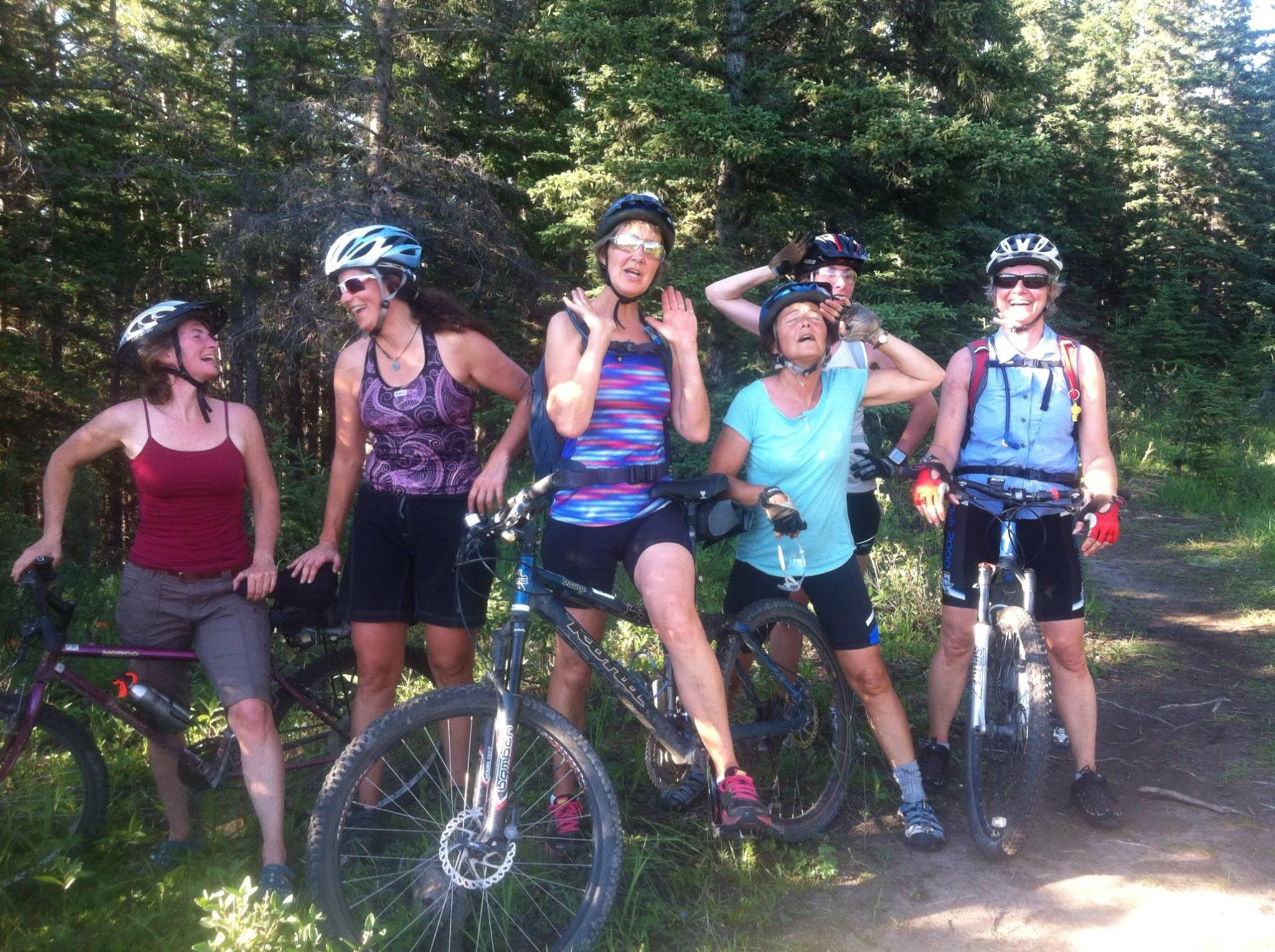 """There's always fun to be had on group rides! The """"I'm exhausted from climbing"""" pose."""