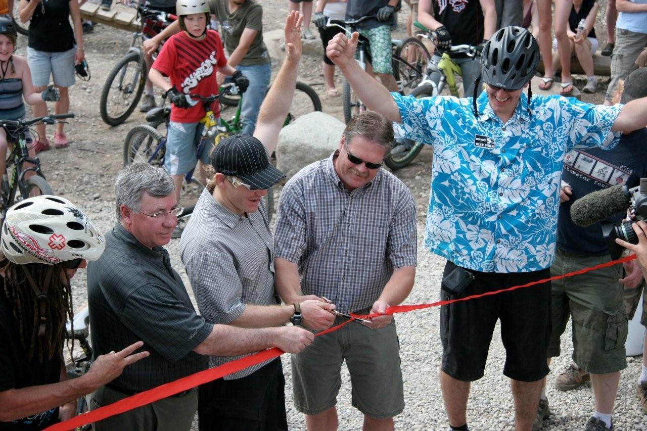 Grand Opening of the Hinton Bike Park, 2008.  From left to right: Jay Hoots (Hoots Inc.), Robin Campbell (West Yellowhead MLA), Stephen Hanus (HMBA), Glenn Taylor (Hinton Mayor), and Jay Hore (HMBA)
