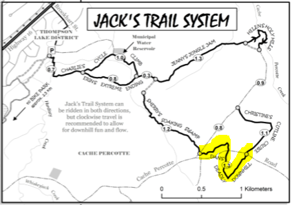 Trail highlighted in yellow.