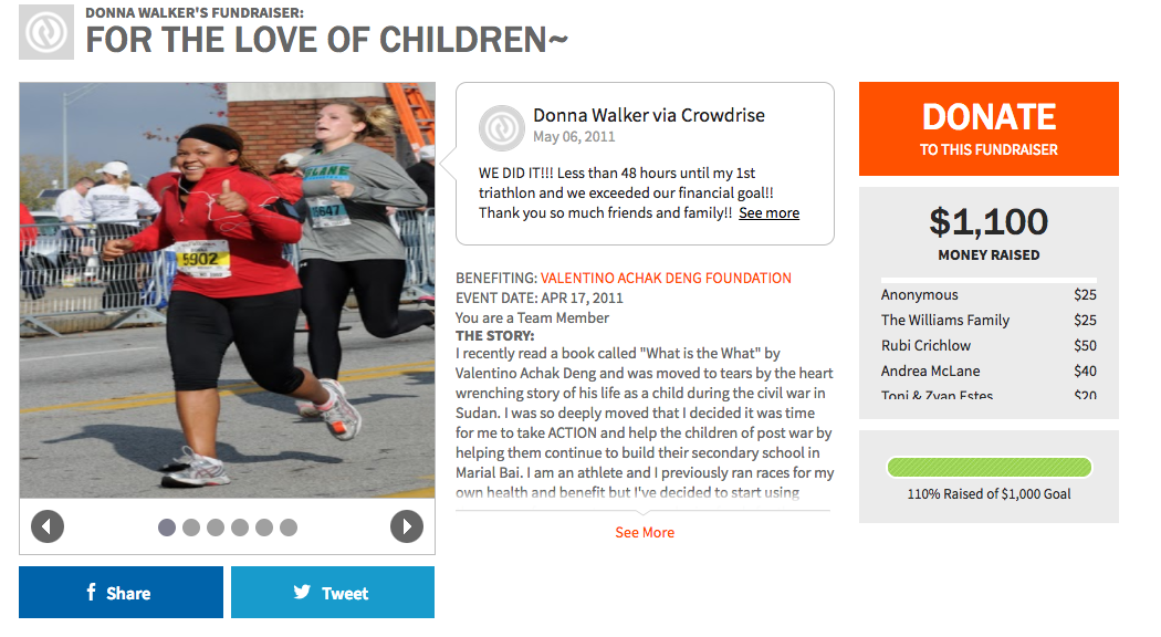 Donna Walker ran for the love of children.
