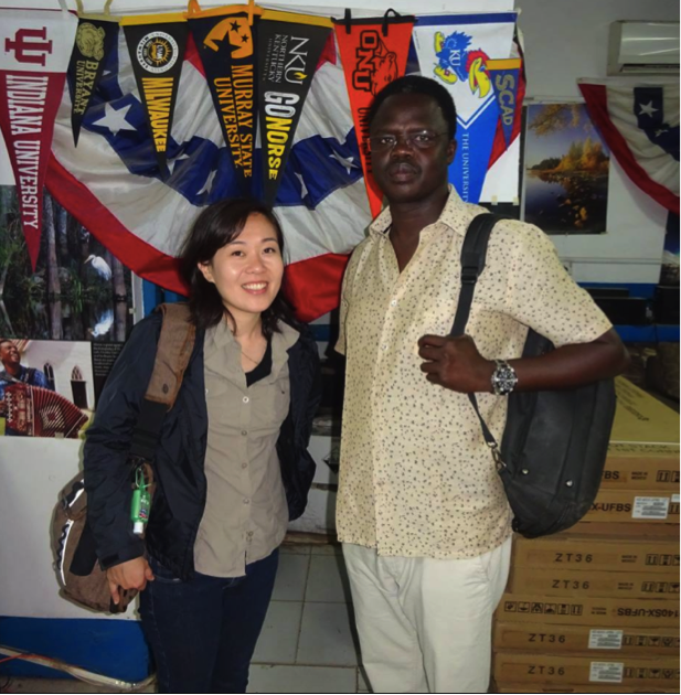 Yvonne and Valentino at the American Corner at the University of Juba
