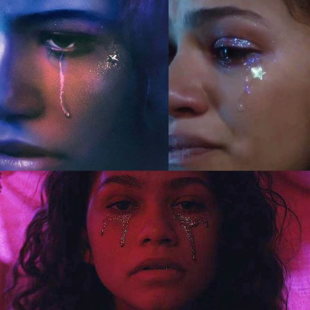 """""""I'll do 25 to life, if it makes me a King — a star in your eyes,"""" - Labrinth, All for Us. This song lyric connection was a divine coincidence. Thank you @alexelijahc for pointing this out! The Episode 8 glitter tears (on the right) were meant to be a gritty & real version of the hallucinated gold glitter tears in the blanket fort in Episode 2 (the bottom image) and the big iridescent star was meant to tie into the billboard image from Episode 1 (on the left). P.S. Did anyone notice when the iridescent star disappeared in Episode 8? Definitely some meaning there 💔 // A complete breakdown of Rue's winter formal look is coming soon, as well as a breakdown of the process and concept behind the silicone-encapsulated gold glitter tear prosthetics used on the dancers during the final scene. #euphoriahbo #euphoriahbomakeup #rueeuphoria #glittertears"""