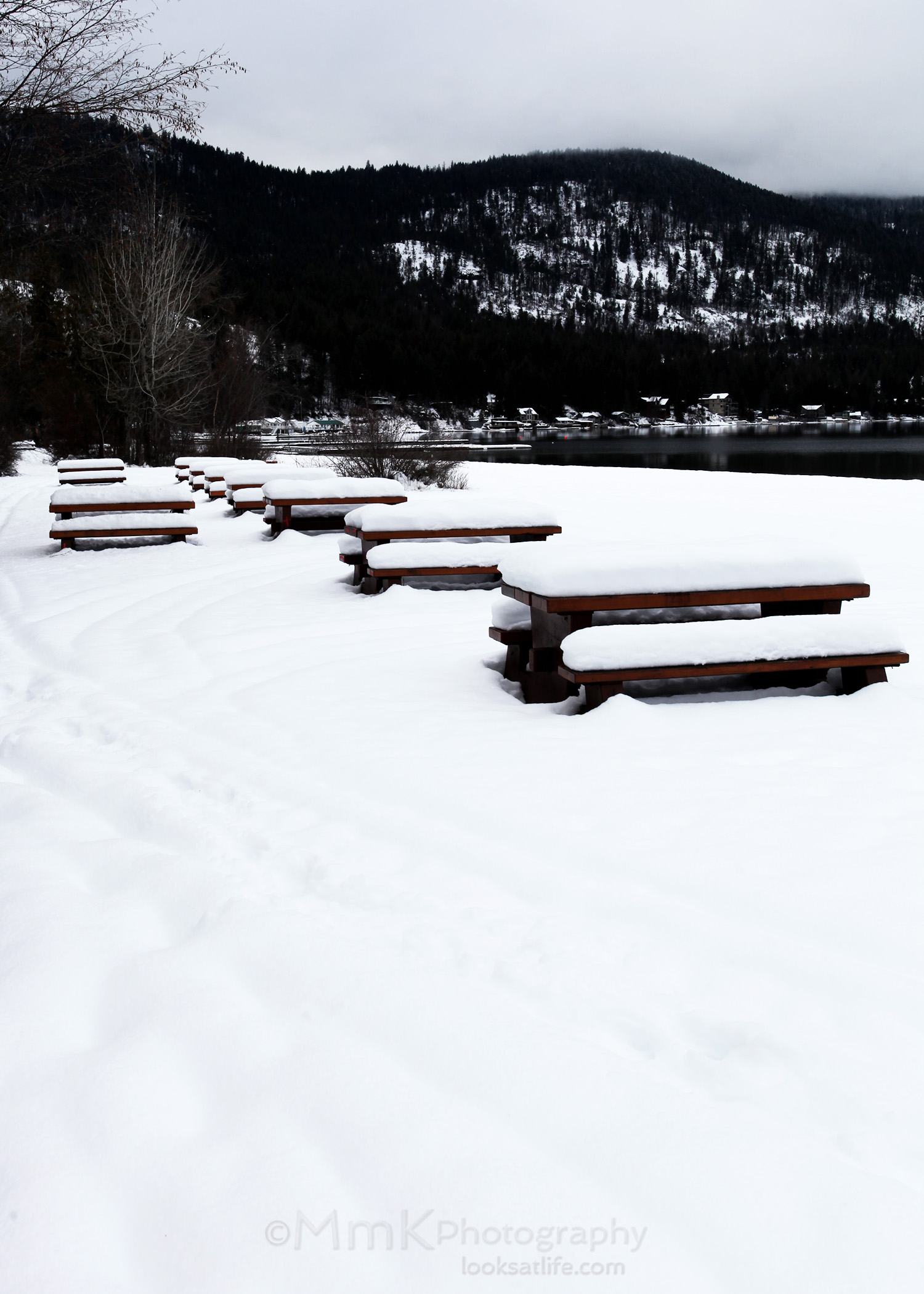 Picnic tables waiting for the spring melt - Christina Lake, BC.