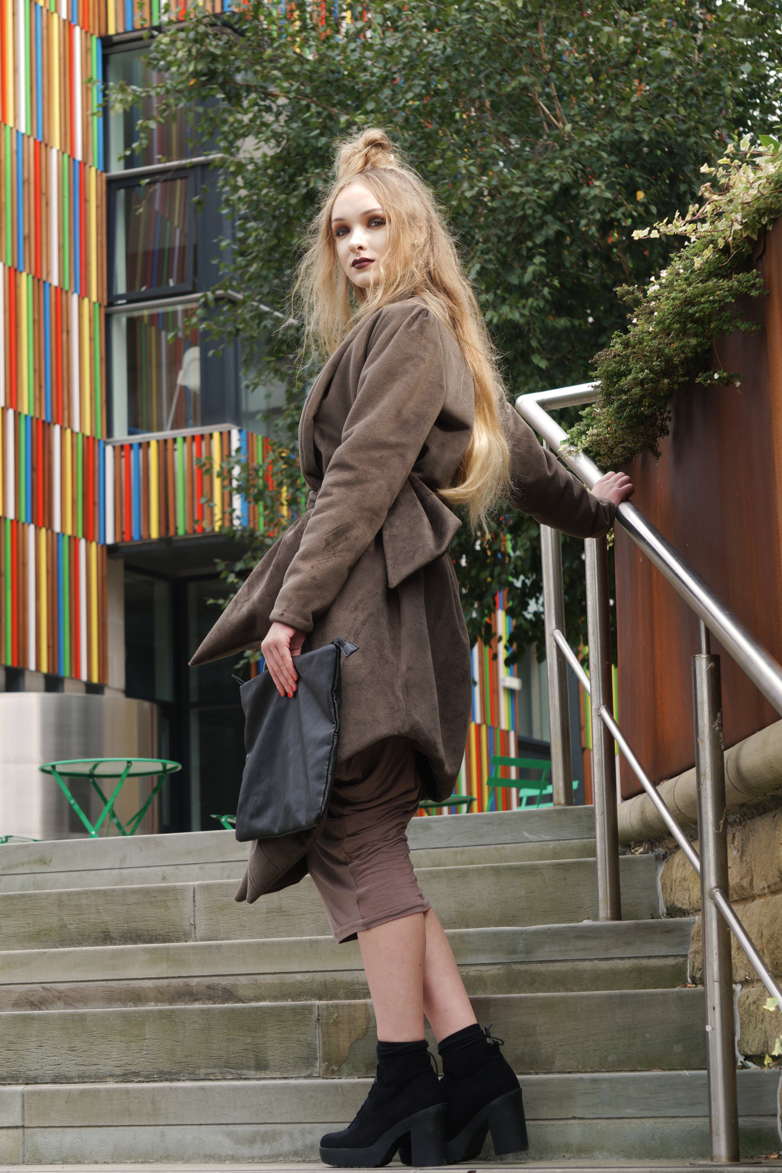 zaramia-ava-zaramiaava-leeds-fashion-designer-ethical-sustainable-taupe-versatile-drape-yoko-skirt-mioka-black-mai-coat-leeds-dock-grunge-clutch-bag-11