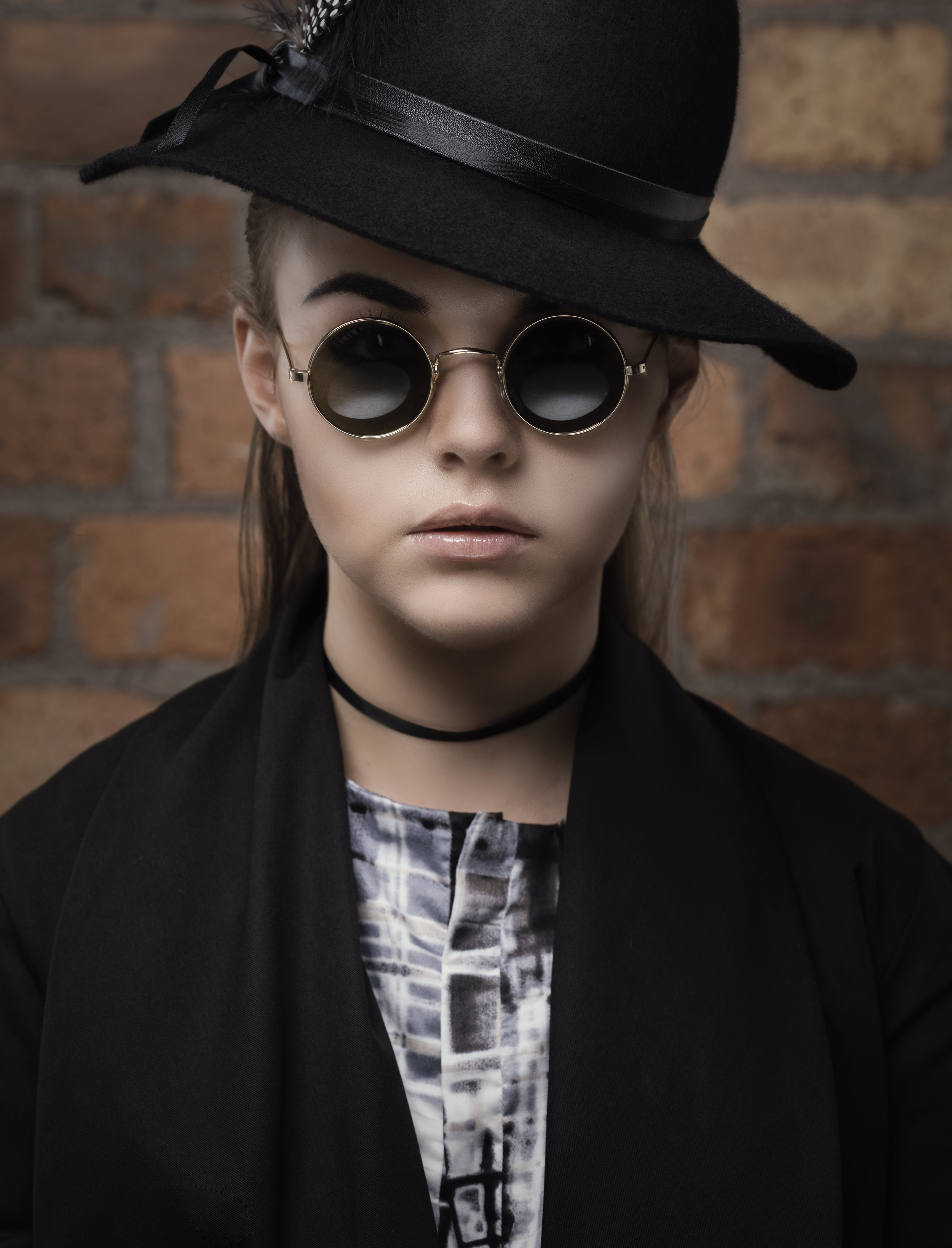 zaramia-ava-zaramiaava-leeds-fashion-designer-ethical-sustainable-glasses-versatile-drape-wrap-top-wrap-top-jacket-mio-black-white-grey-styling-hat-studio-womenswear-photoshoot-7