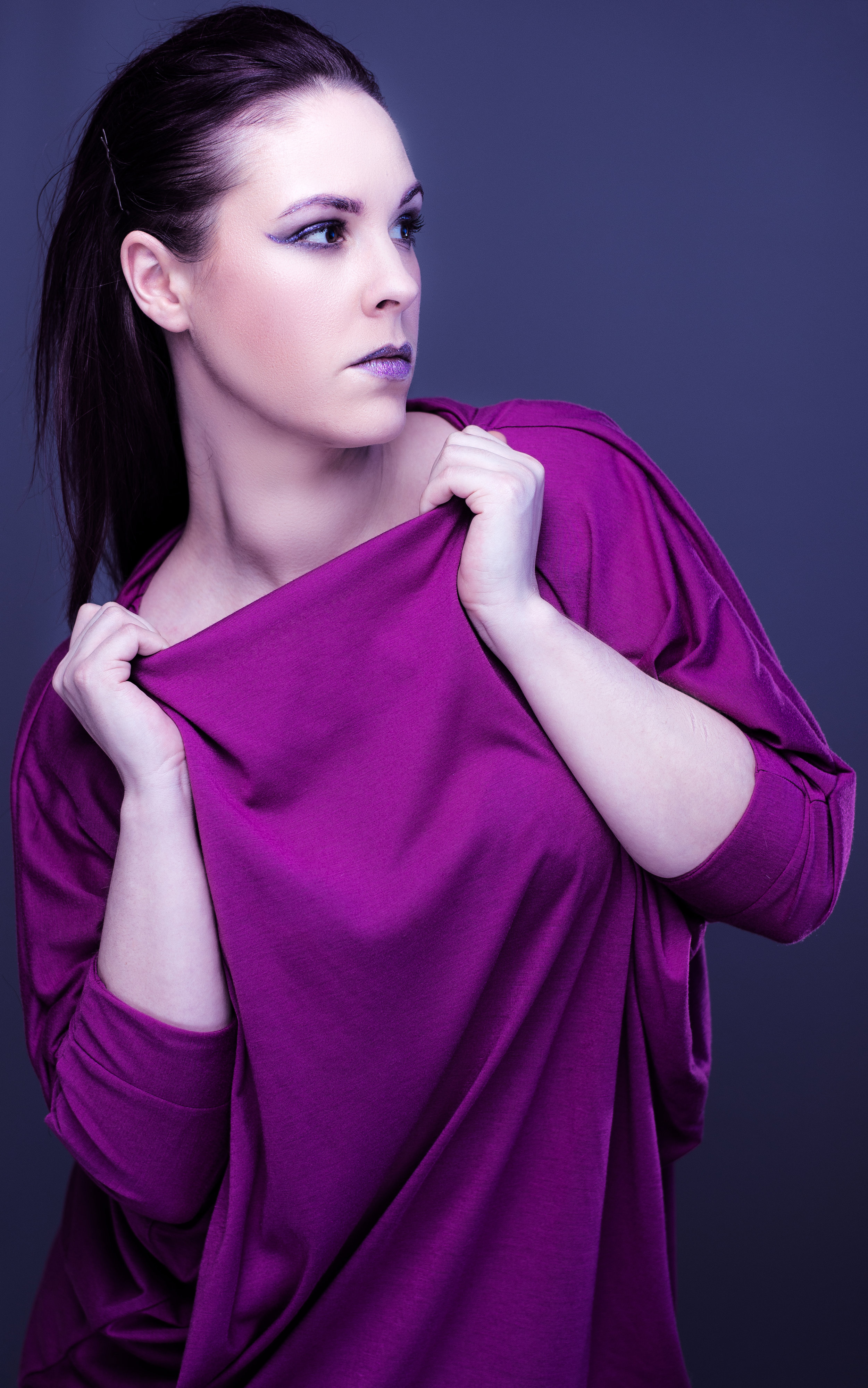 zaramia-ava-zaramiaava-leeds-fashion-designer-ethical-sustainable-minimalist-ayaka-magenta-dress-versatile-drape-cowl-styling-studio-womenswear-models-photoshoot-vibrant-colour-5