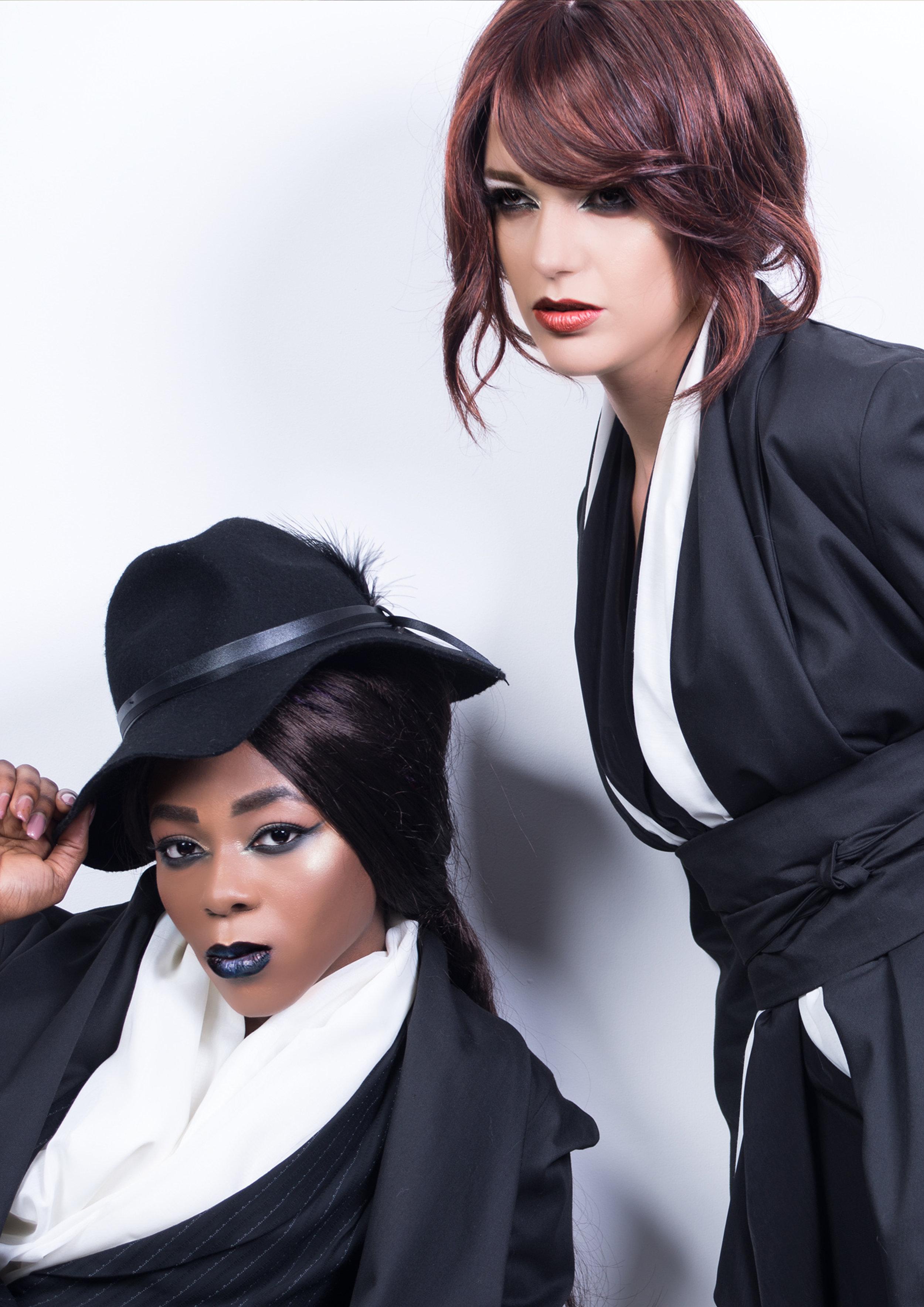 zaramia-ava-zaramiaava-leeds-fashion-designer-ethical-sustainable-tailored-minimalist-shirt-mio-rei-black-obi-belt-dress-versatile-drape-cowl-styling-studio-womenswear-models-photoshoot-black-white-7.jpg