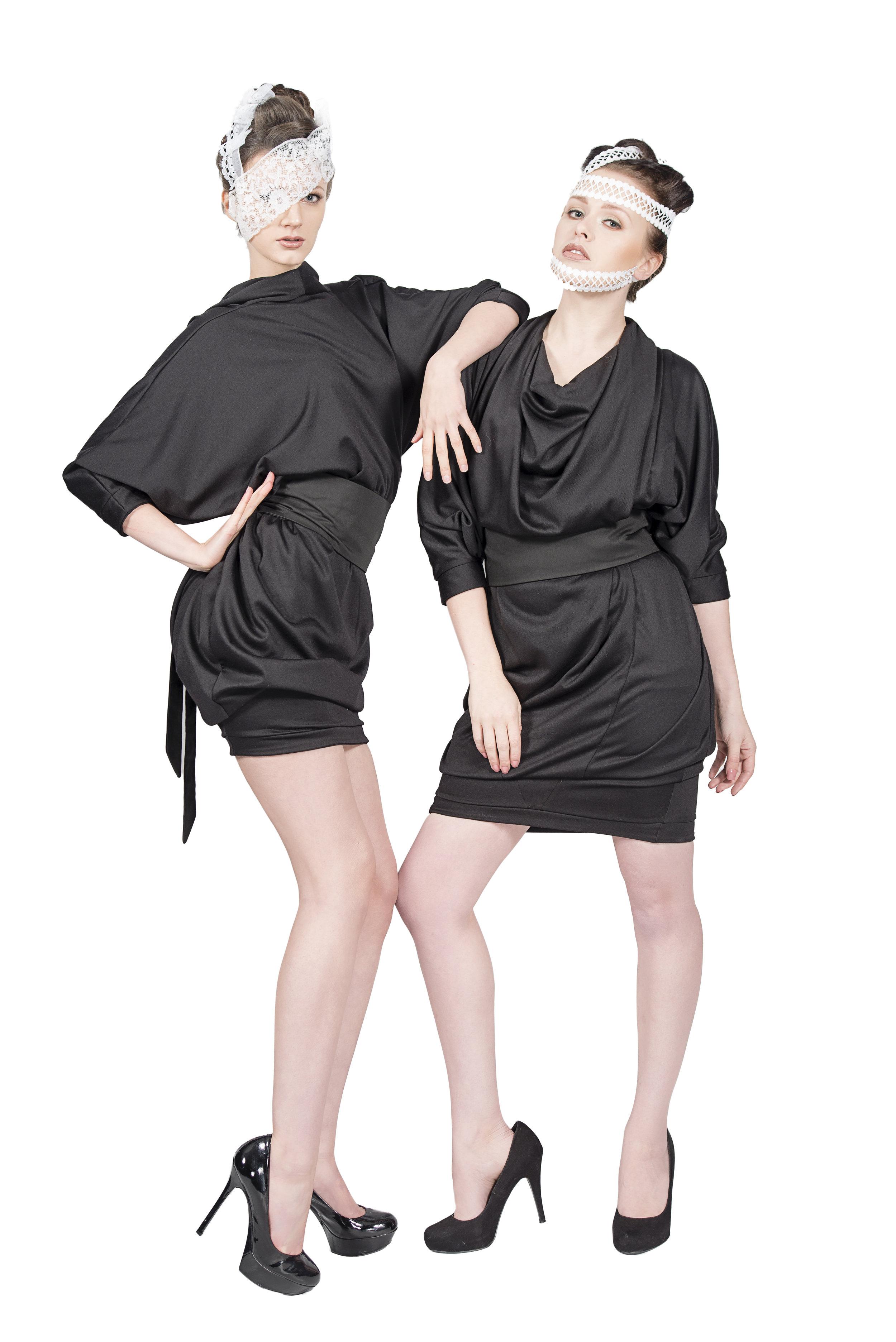 zaramia-ava-zaramiaava-leeds-fashion-designer-ethical-sustainable-tailored-minimalist-aya-lace-black-obi-belt-dress-versatile-drape-cowl-styling-studio-womenswear-models-photoshoot-black-white-1