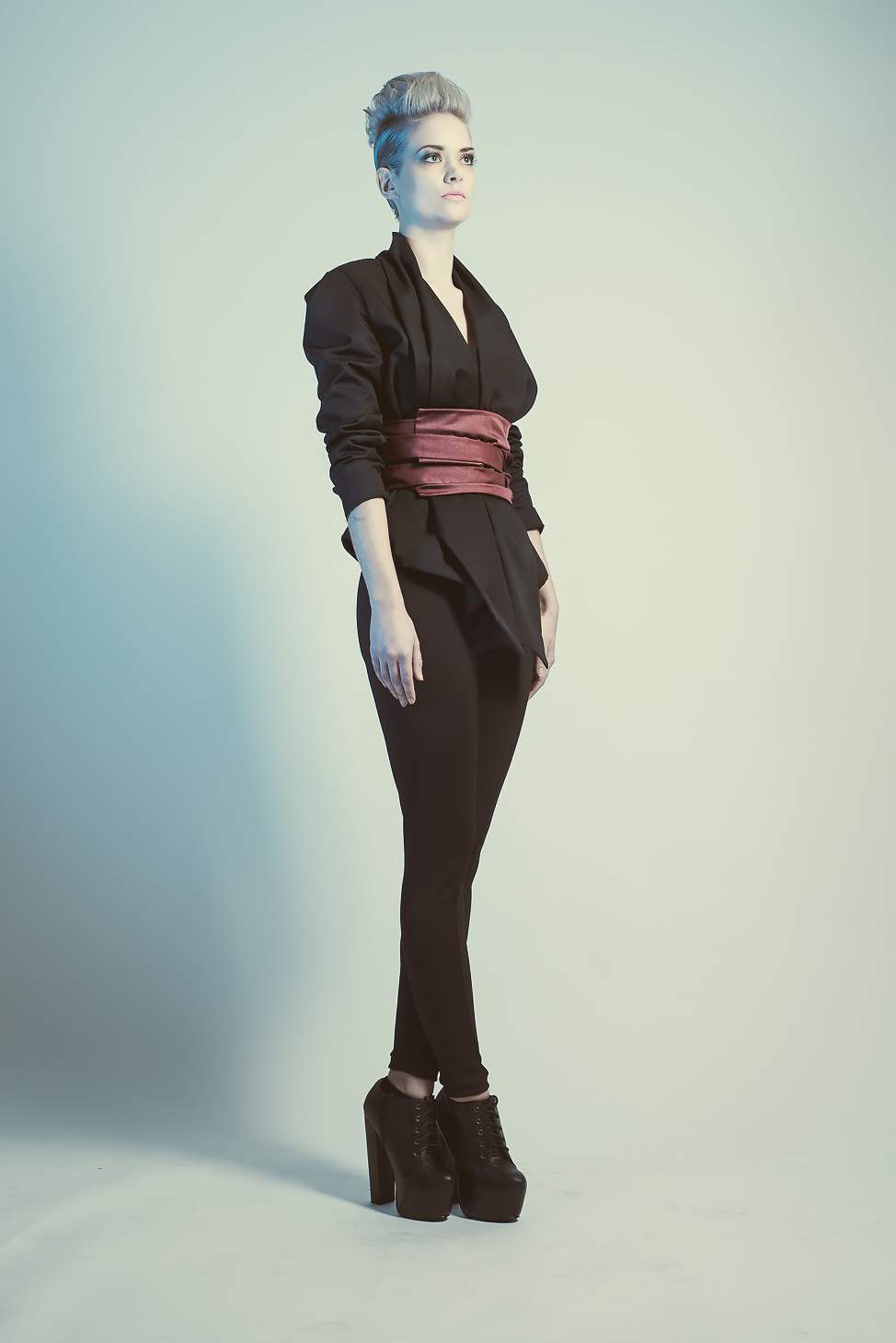 zaramia-ava-zaramiaava-leeds-fashion-designer-ethical-sustainable-tailored-minimalist-mio-black-jacket-top-red-belt-versatile-drape-cowl-styling-menswear-models-photoshoot-shrine-hairdressers-41