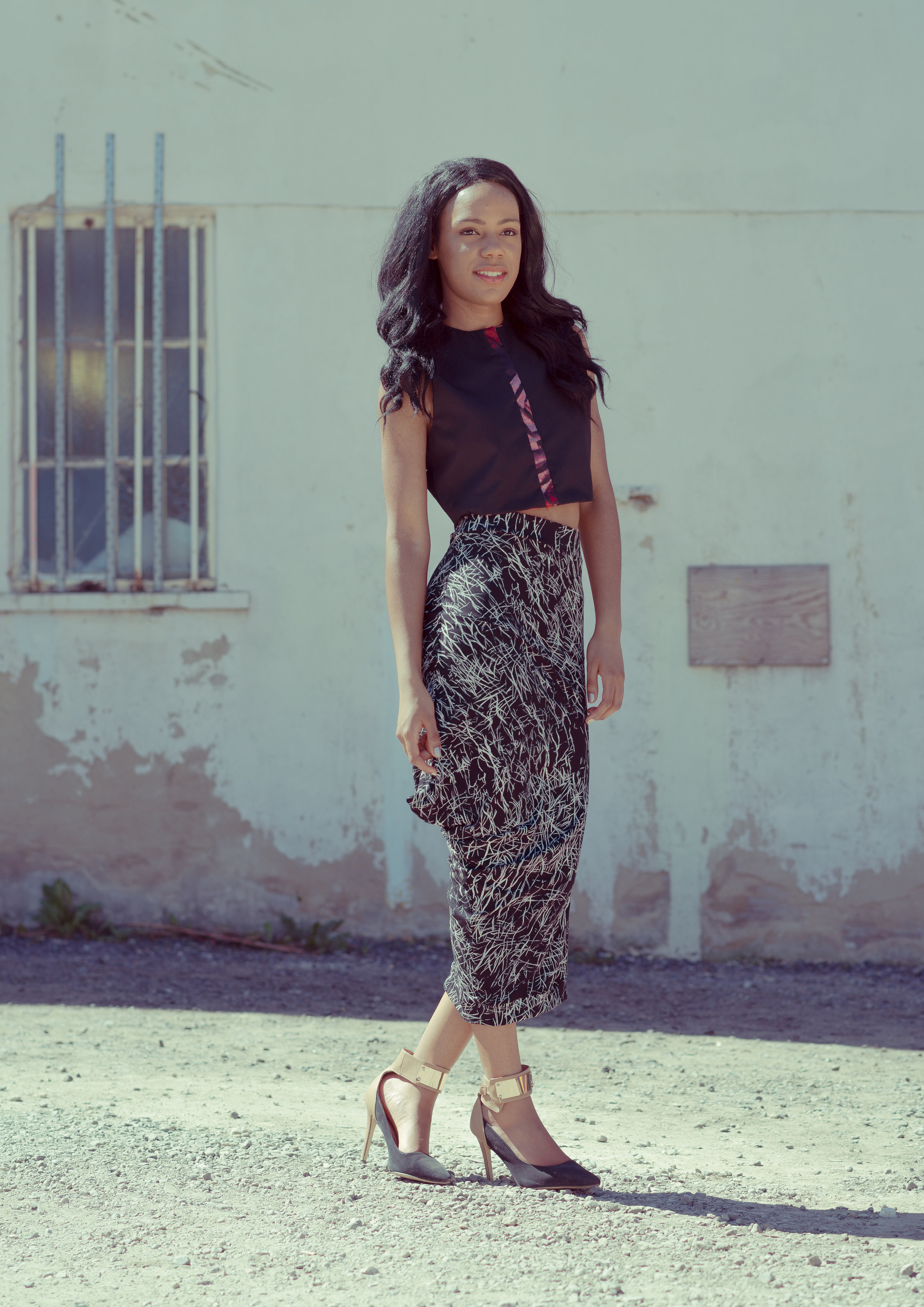 zaramia-ava-zaramiaava-leeds-fashion-designer-ethical-sustainable-tailored-minimalist-crop-top-black-print-point-skirt-black-jacket-belt-versatile-drape-cowl-styling-womenswear-models-13