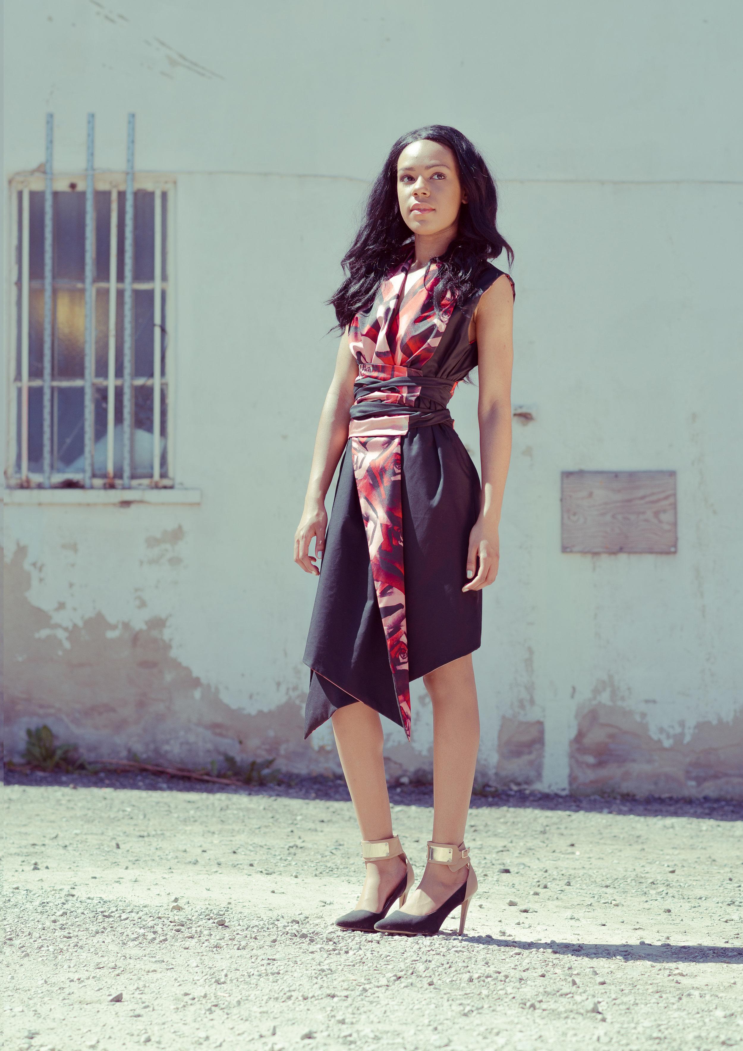 zaramia-ava-zaramiaava-leeds-fashion-designer-ethical-sustainable-tailored-minimalist-emi-red-print-black-jacket-belt-point-skirt-versatile-drape-cowl-styling-womenswear-models--2