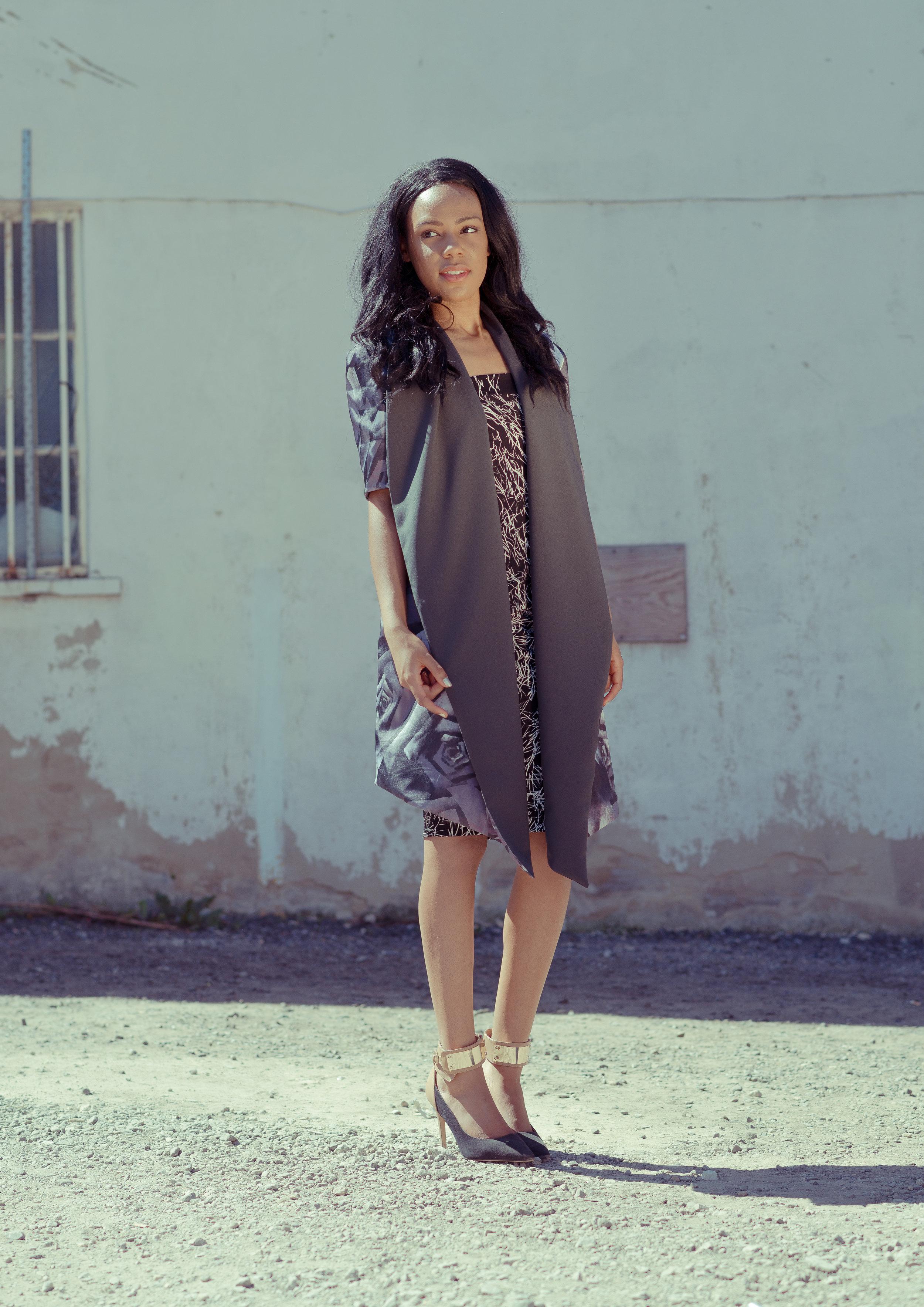 zaramia-ava-zaramiaava-leeds-fashion-designer-ethical-sustainable-tailored-minimalist-mai-grey-print-black-jacket-belt-point-skirt-versatile-drape-cowl-styling-womenswear-models-7