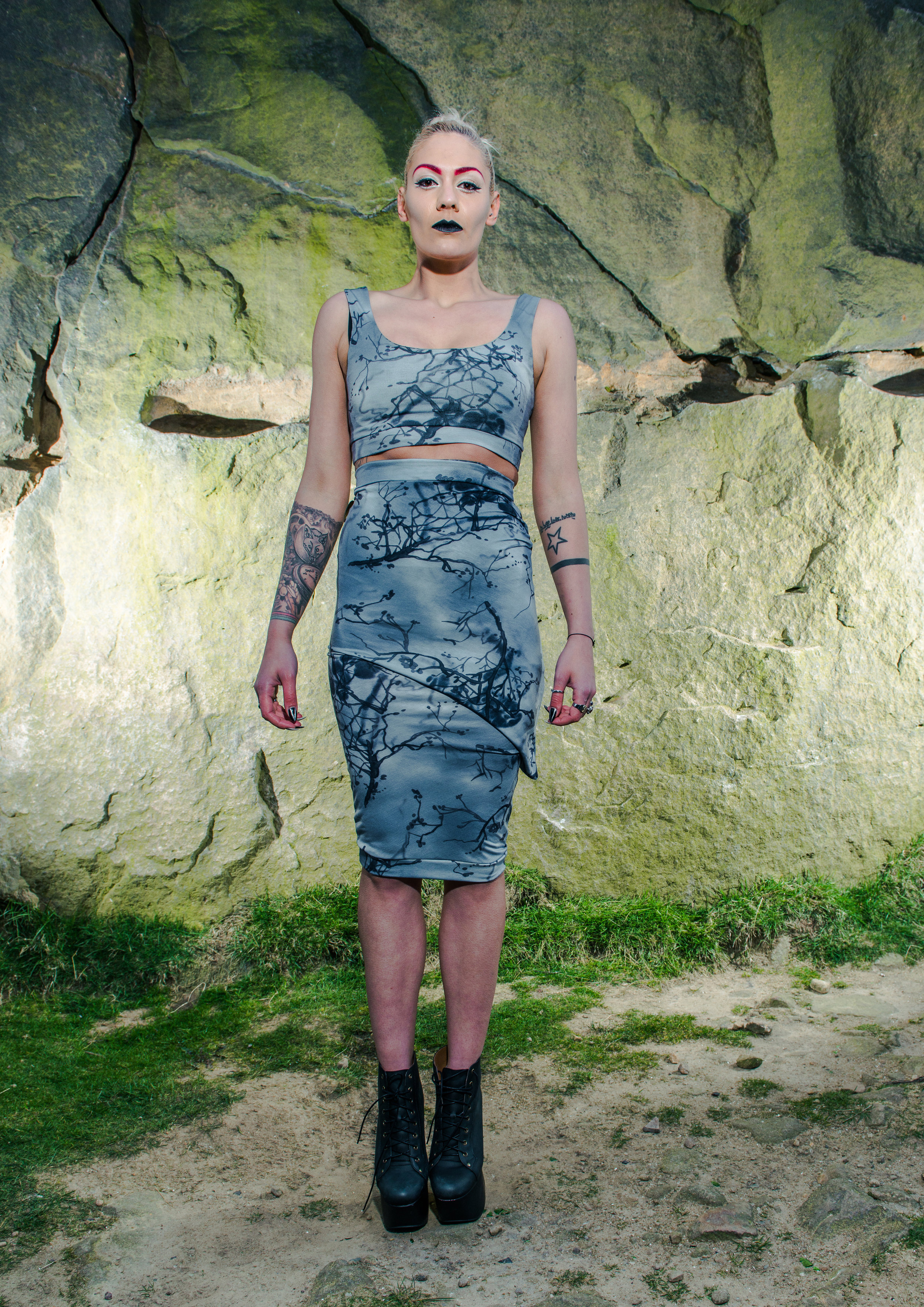 zaramia-ava-zaramiaava-leeds-fashion-designer-ethical-sustainable-tailored-minimalist-aya-grey-print-fitted-bandeau-point-skirt-versatile-drape-cowl-styling-womenswear-models-photoshoot-location-19
