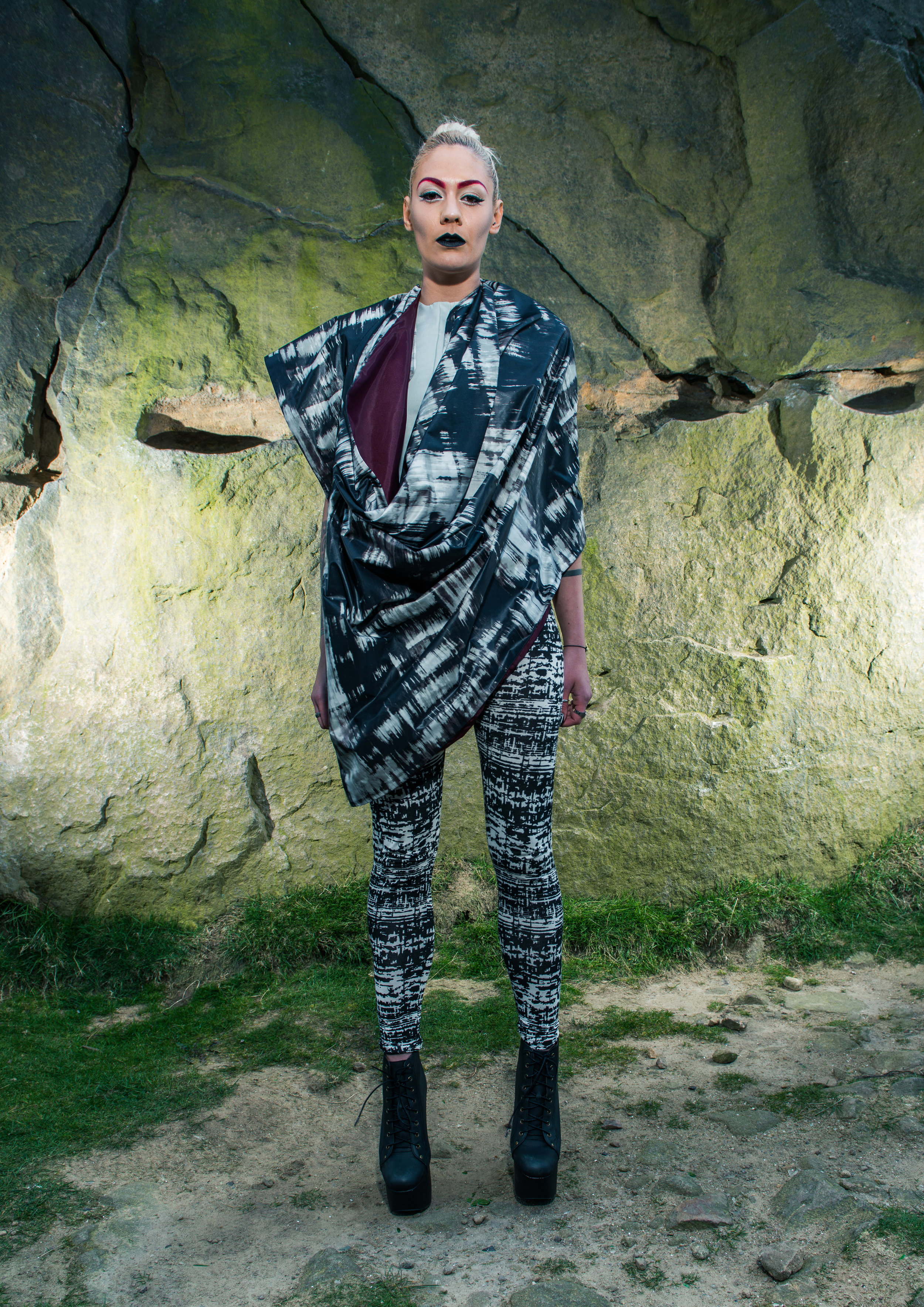 zaramia-ava-zaramiaava-leeds-fashion-designer-ethical-sustainable-tailored-minimalist-aya-grey-print-fitted-crop-top-cape-leggings-versatile-drape-cowl-styling-womenswear-models-photoshoot-location-24