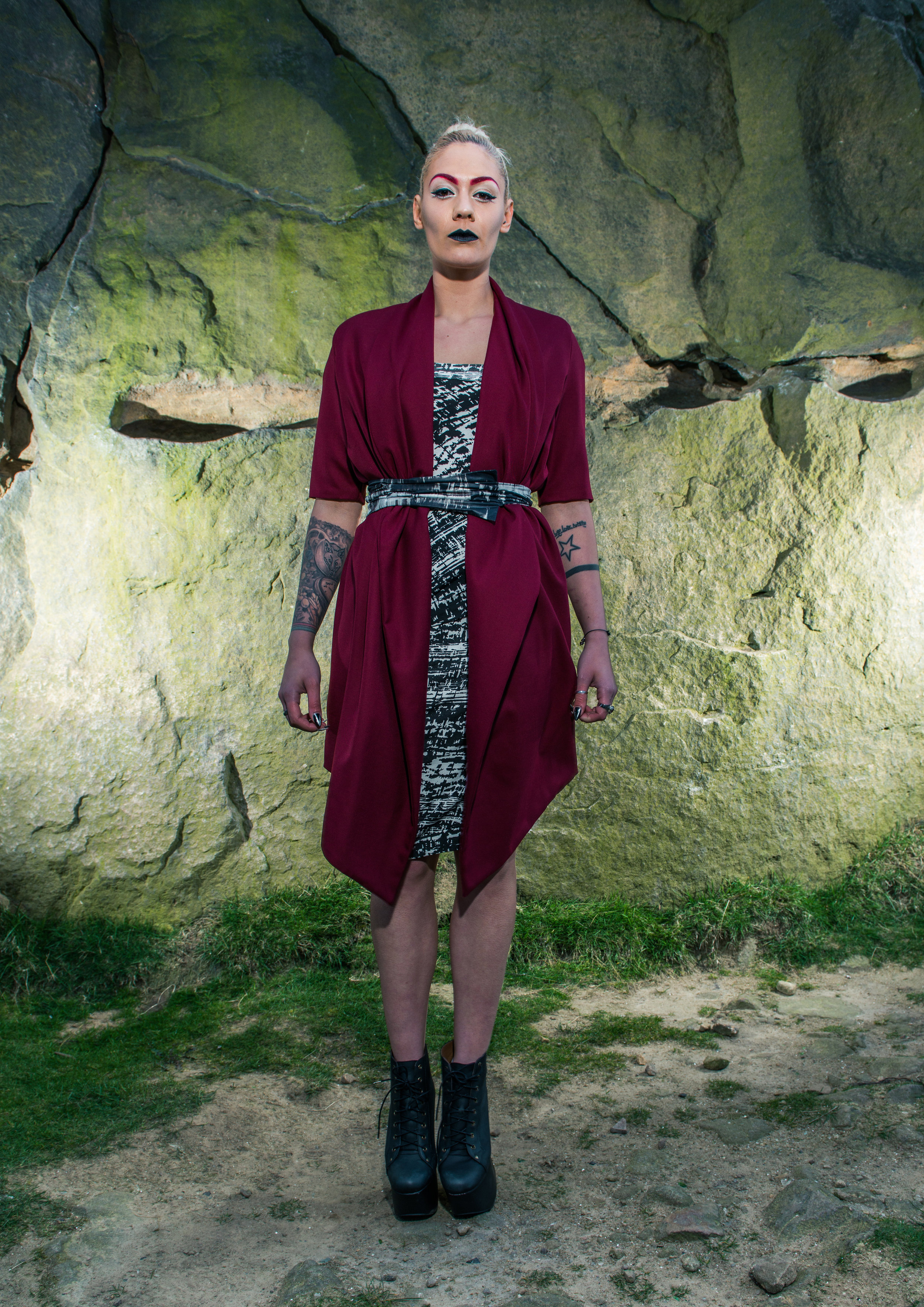 zaramia-ava-zaramiaava-leeds-fashion-designer-ethical-sustainable-tailored-minimalist-red-black-white-print-fitted-point skirt-mai-versatile-drape-cowl-styling-womenswear-models-photoshoot-location-30