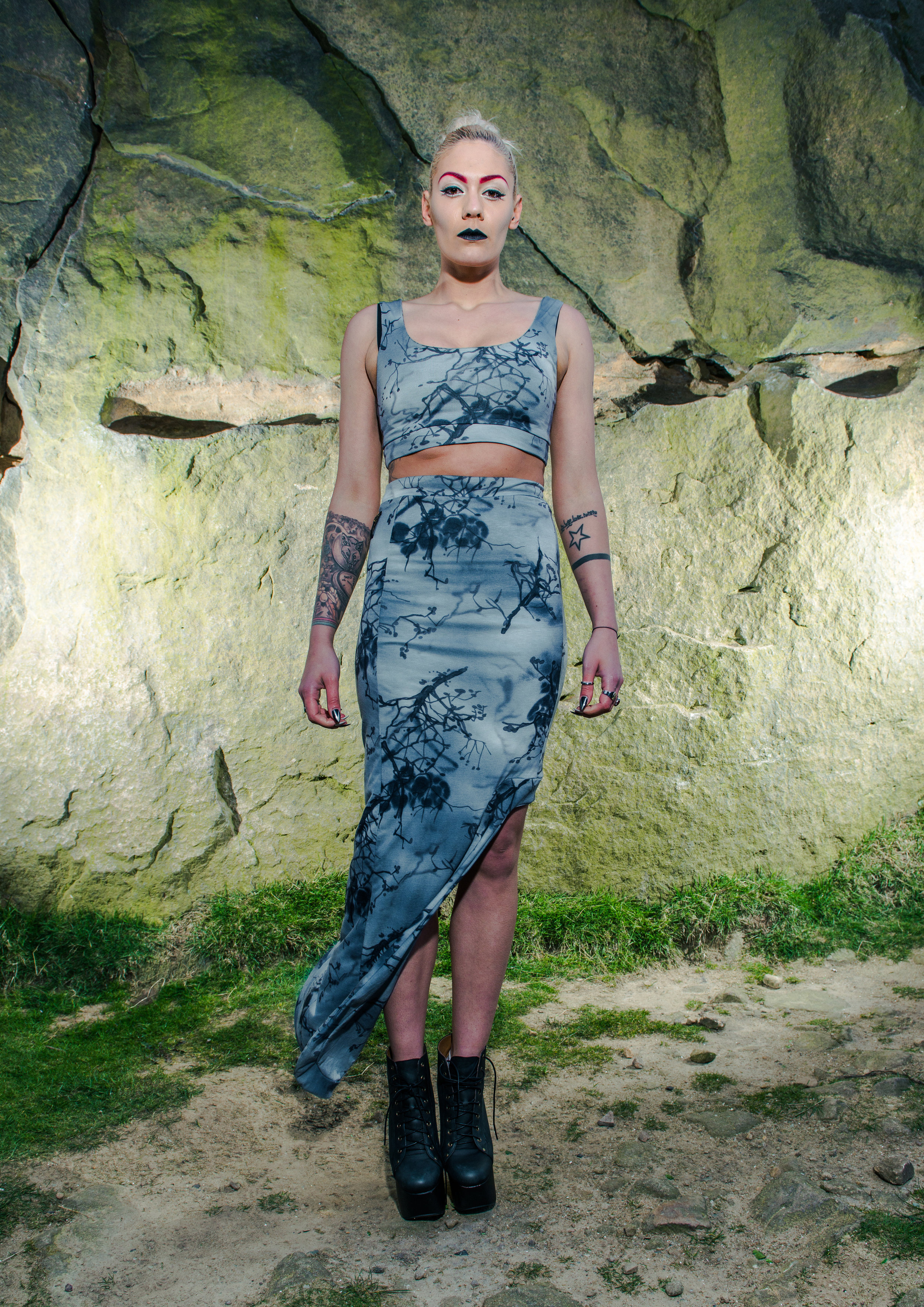 zaramia-ava-zaramiaava-leeds-fashion-designer-ethical-sustainable-tailored-minimalist-grey-print-fitted-bandeau-maxi-skirt-versatile-drape-cowl-styling-womenswear-models-photoshoot-location-25