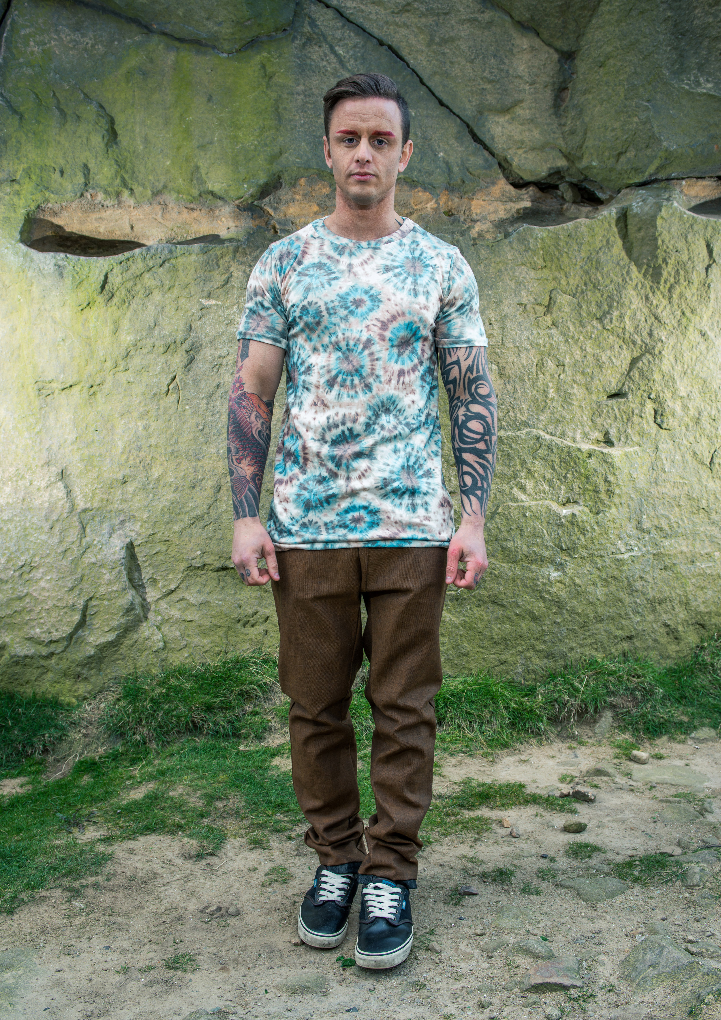 zaramia-ava-zaramiaava-leeds-fashion-designer-ethical-sustainable-tailored-minimalist-denim-brown-print-basic-fitted-jersey-tshirt-top-trousers-versatile-drape-cowl-styling-menswear-models-11